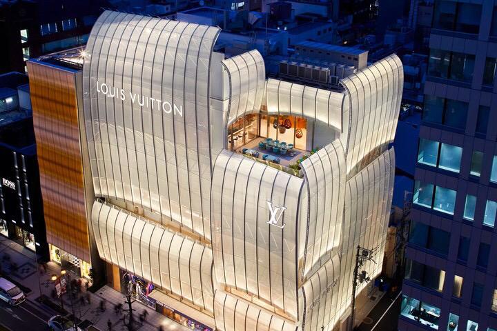 Loja Louis Vuitton cidade de Osaka com restaurante novo na cobertura