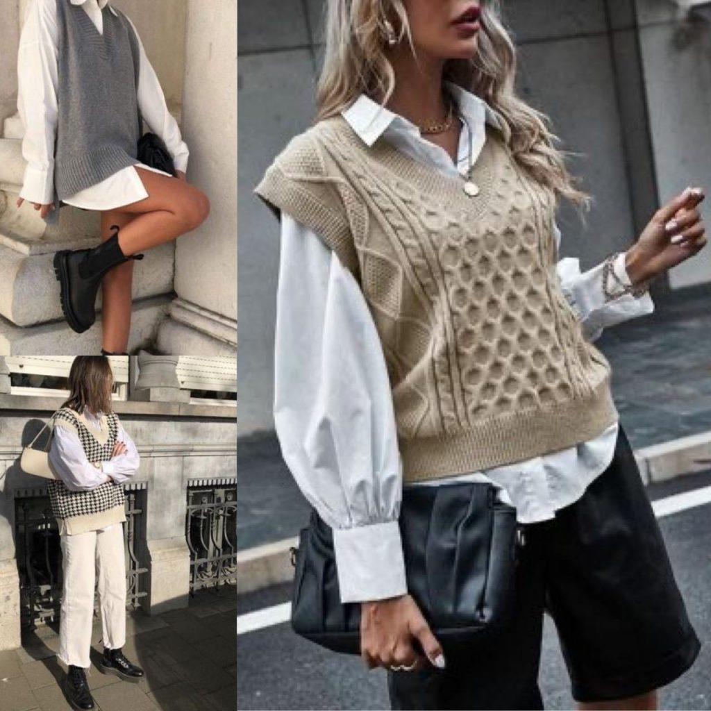 tendência 2021 colete de tricô para mulheres