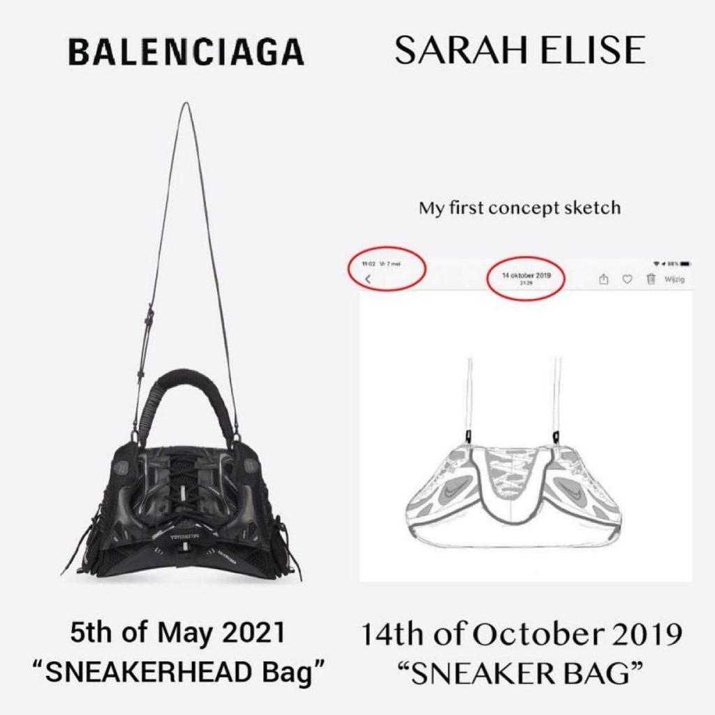 comparação bolsa balenciaga e sketch de sarah elise
